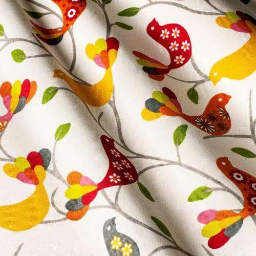 Красивая ткань для штор в стиле прованс птицы оранжевый - 142092v1