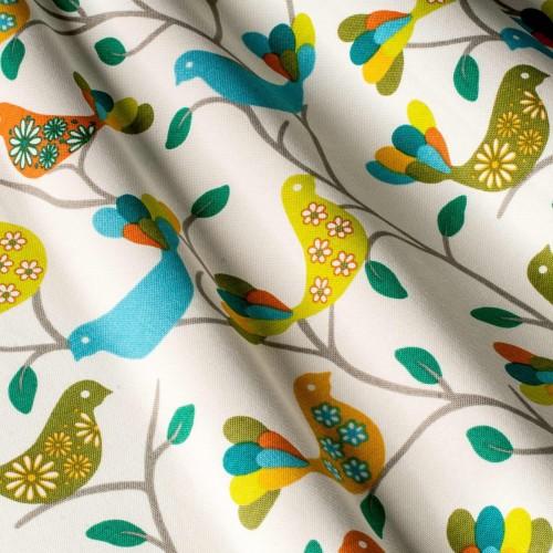 Красивые шторы в стиле прованс птицы зленый - 142092v3
