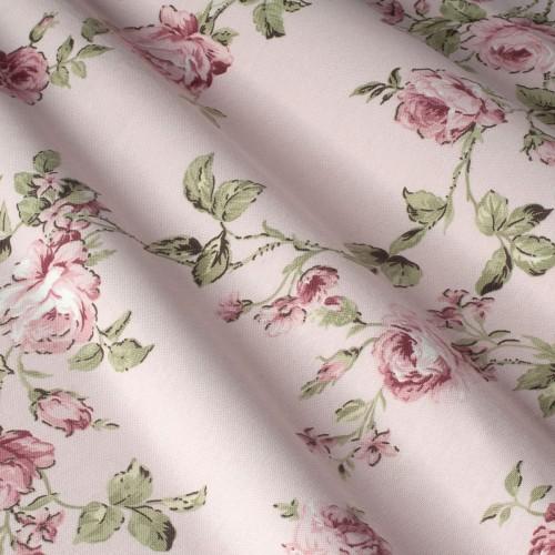 Гарна тканина для штор троянди рожевий - 19510v15
