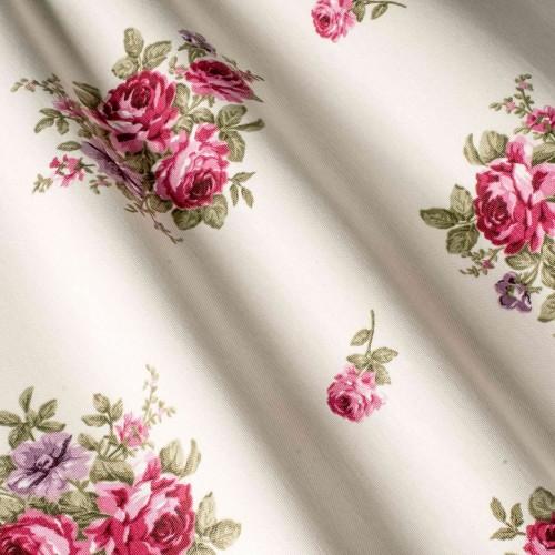 Красивая ткань для штор с розами малиновый - 260124v18