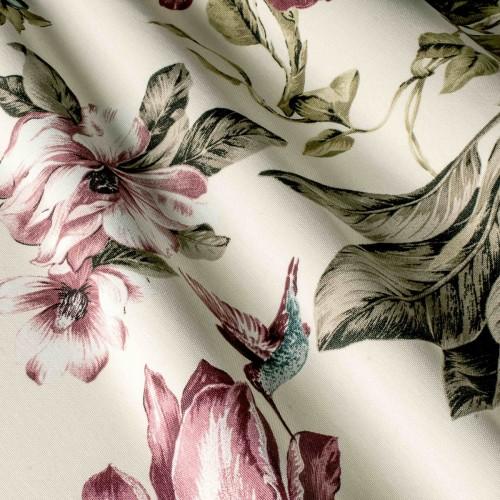 Красивая ткань для штор с цветами и птицами розовый - 320290v38
