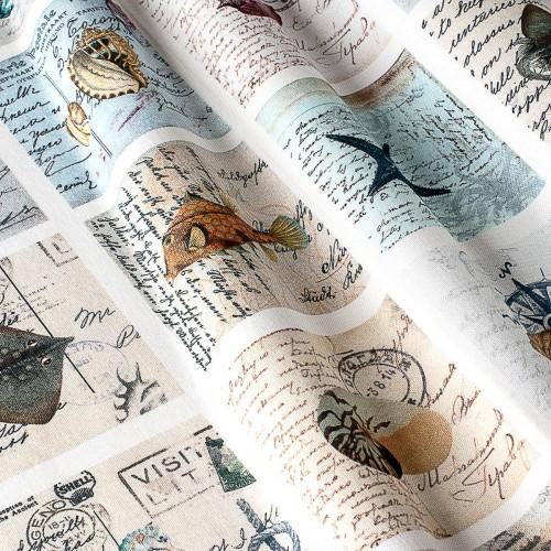 Декоративная ткань с принтом морские открытки - 800292v1