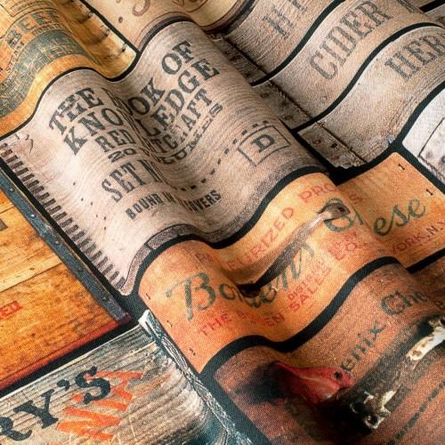Декоративная ткань с принтом винтажные таблички - 800298v1