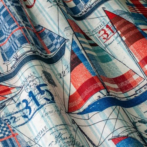 Декоративная ткань c принтом кораблики - 800334v2