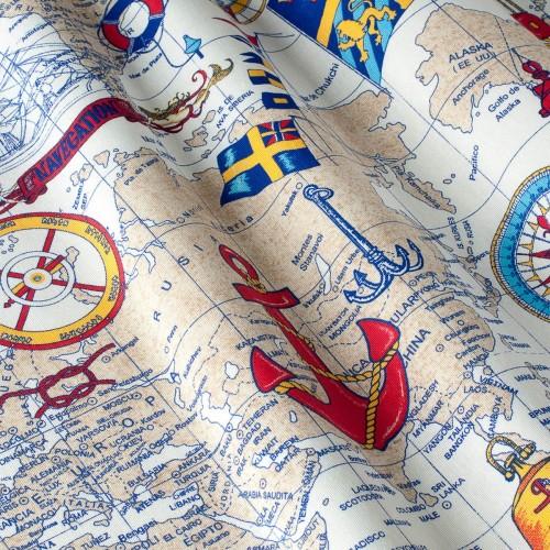 Декоративная ткань с принтом морская тематика - 800344v1