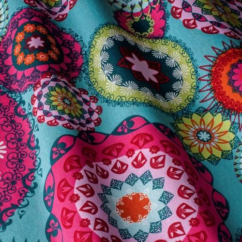 Декоративная ткань принт абстракция сине-розовые оттенки - 800364v1