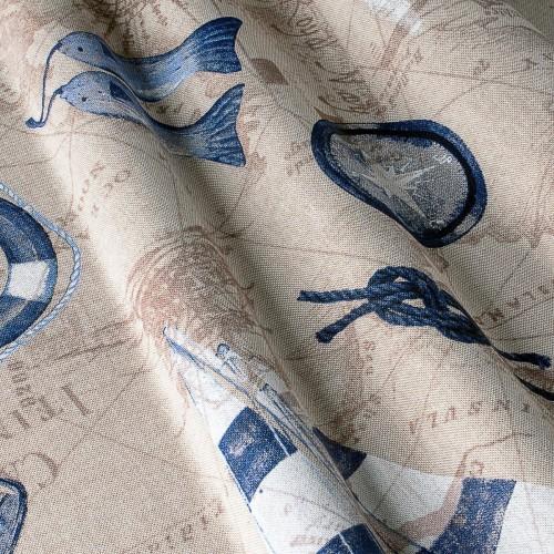 Декоративная ткань с принтом морская тематика - 800370v1