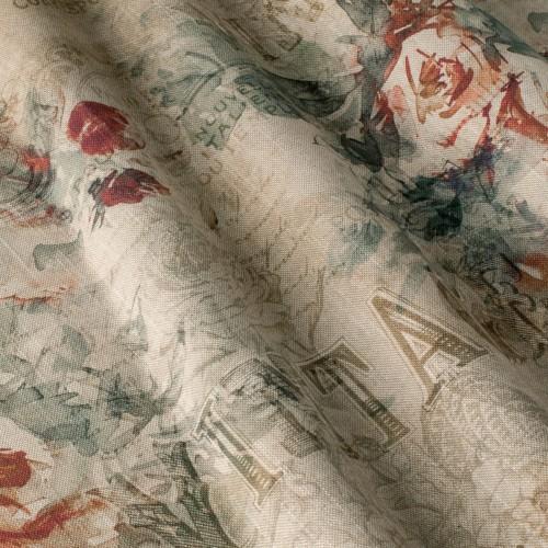 Декоративная ткань c винтажно-цветочным принтом - 800440v1
