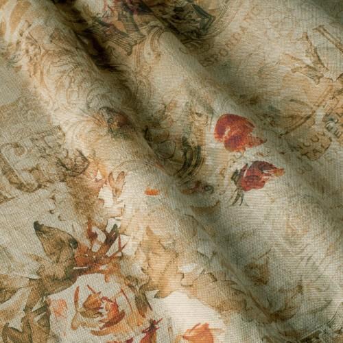 Декоративная ткань с винтажно-цветочным принтом - 800440v2