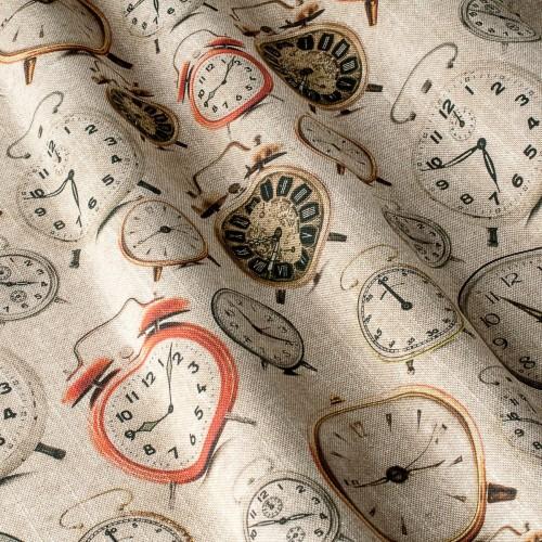 Декоративная ткань принт будильники - 800444v1