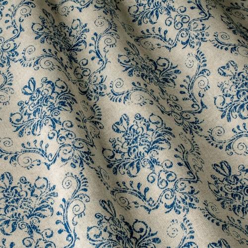 Декоративная ткань принт синий вензель - 800448v1