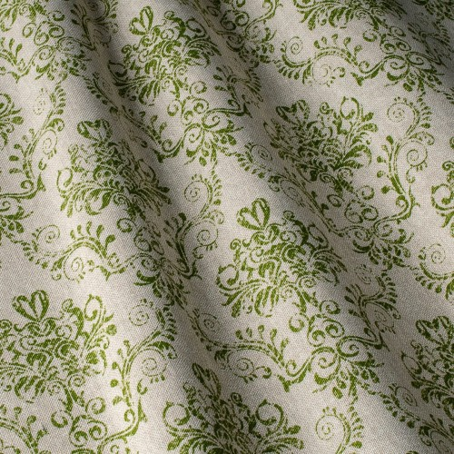 Декоративная ткань принт зелёный вензель - 800448v4