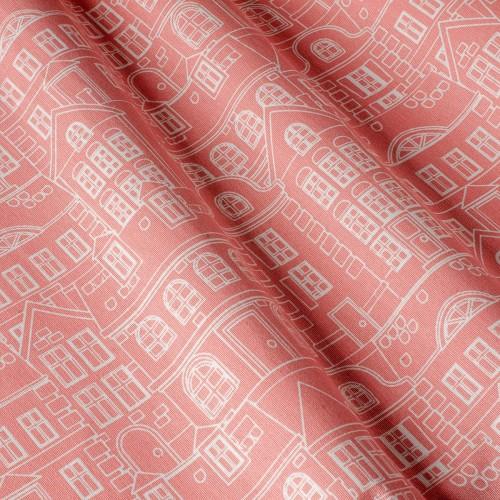 Декоративная ткань с принтом домики, тефлоновое покрытие - 800484v1