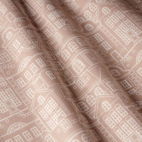 Декоративная ткань с принтом домики, тефлоновое покрытие - 800484v2