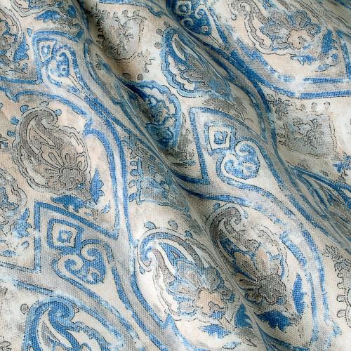Декоративная ткань принт голубой вензель - 800516v1