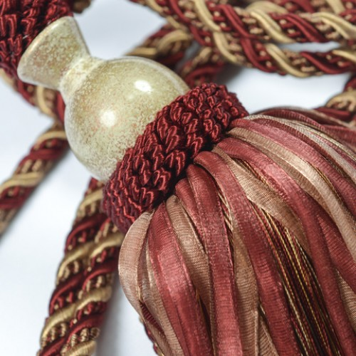 Кутас органза, бордо-золото - 105508