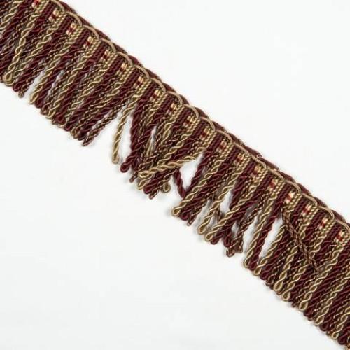 Бахрома спираль, бордо-золото 6.5 см - 105614