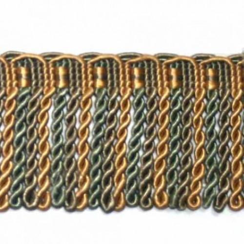 Бахрома спираль, оливка-золото 6.5 см - 110400