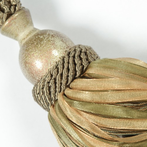 Кутас органза, оливка-золото - 115778