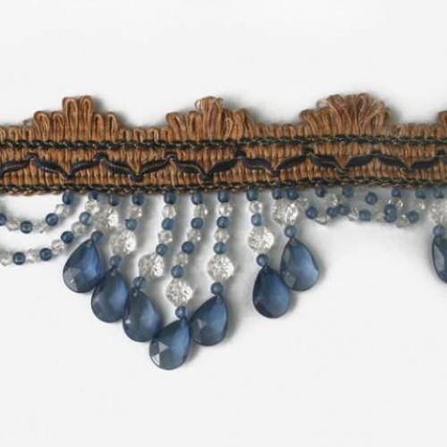 Бахрома стеклярус, синий 9 см - 138246