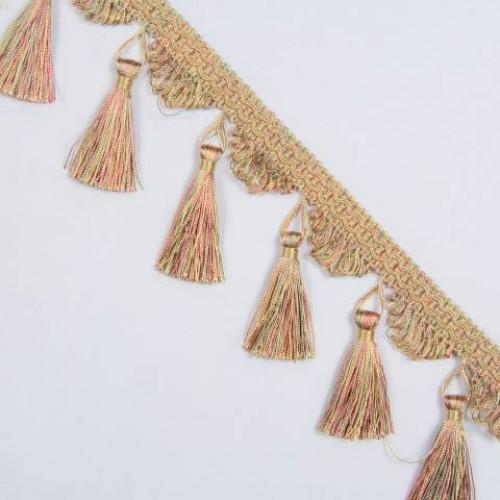 Бахрома кисточка, беж-оливка-розовый - 167064