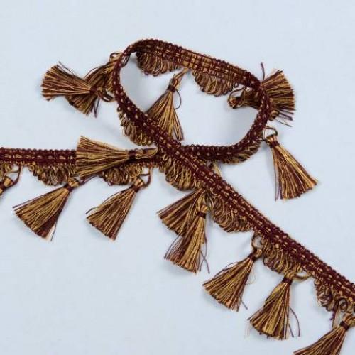 Бахрома кисточка, бордо-золото - 182558