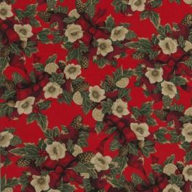 Декоративная новогодняя ткань рождественский букет - 214060