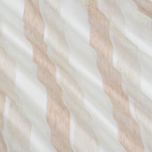 Натуральная гардина лен в полоску молочный-светло-коричневый - 215304