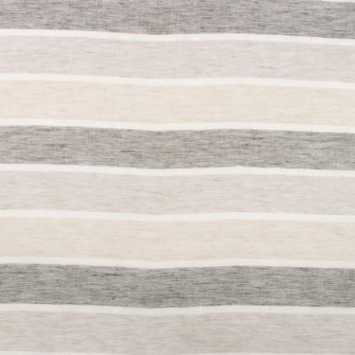Натуральная гардина лен в полоску молочный-чёрный - 215308