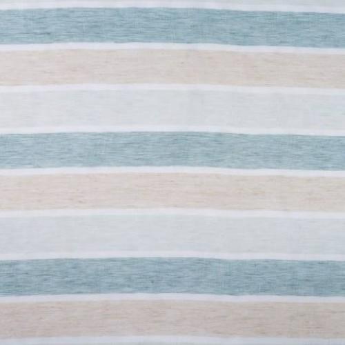 Натуральная гардина лен в полоску молочный-голубой - 215310