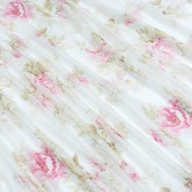 Батист тюль молочный, розовый - 218144