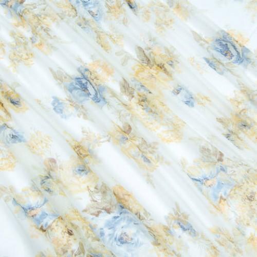 Батист тюль молочный, синий - 218146