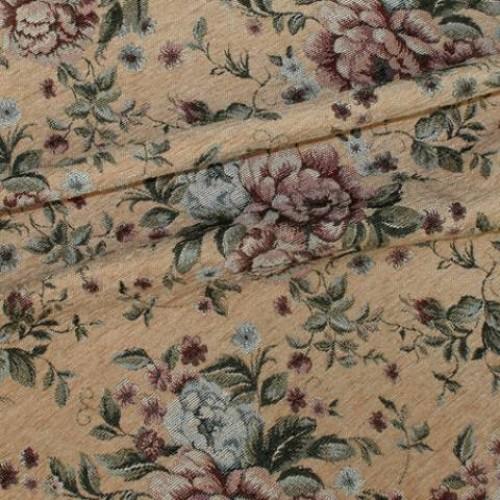 Шенилл-гобелен бежзолот.розы - 229540