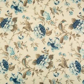 Блэкаут с рисунком цветы т.синий - св.синий - 257592