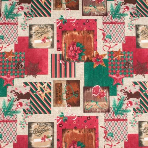 Декоративная новогодняя ткань - 265130