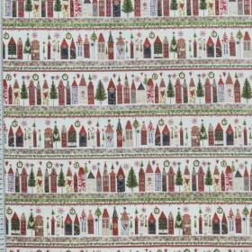 Натуральная тонкая ткань котон новогодний  - 267016
