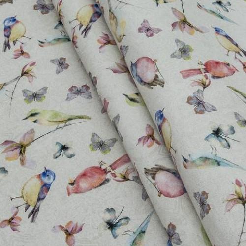 Декоративная ткань   цветные птички