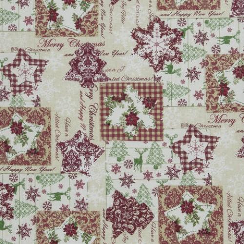 Декоративная новогодняя ткань св.беж - 286542