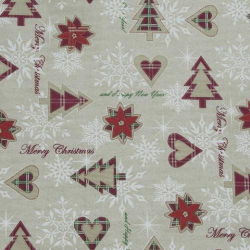 Декоративная новогодняя ткань беж бордо - 286544