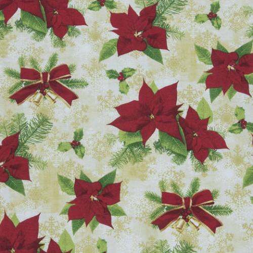 Декоративная новогодняя ткань беж - 286546