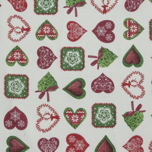 Декоративная новогодняя ткань молочный - 286548