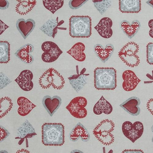 Декоративная новогодняя ткань беж - 286550