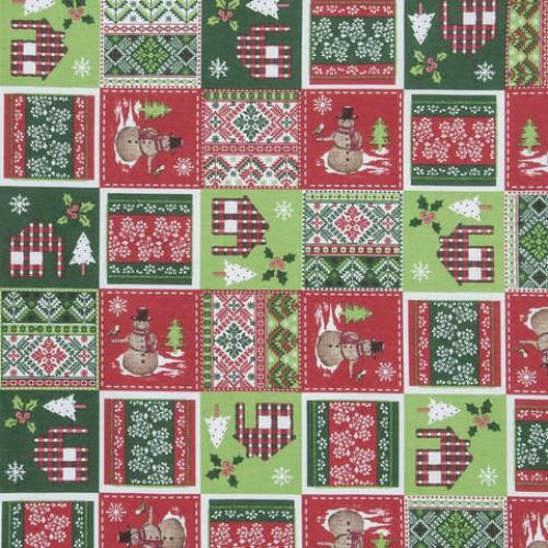 Декоративная новогодняя ткань снеговик - 286552