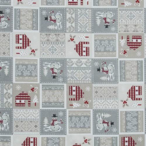 Декоративная новогодняя ткань снеговик - 286554