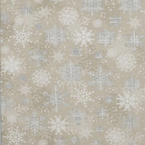 Декоративная новогодняя ткань снежинки серебро - 288980