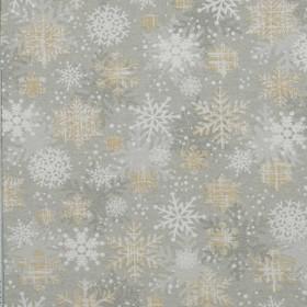 Декоративная новогодняя ткань снежинки золото - 288982