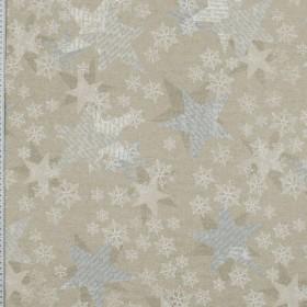 Декоративная новогодняя ткань чара снежинки серебро - 288984