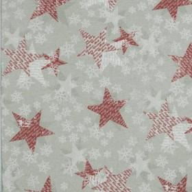 Декоративная новогодняя ткань чара снежинки красный - 288986