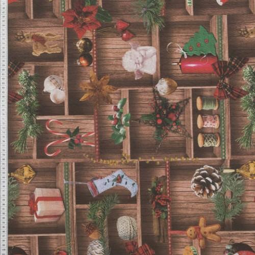 Декоративная новогодняя ткань новогодне игрушки - 288996