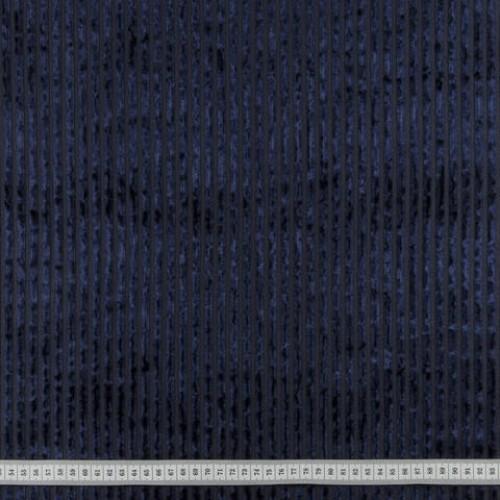 Велюр стрейч полоска темно-синий - 290616